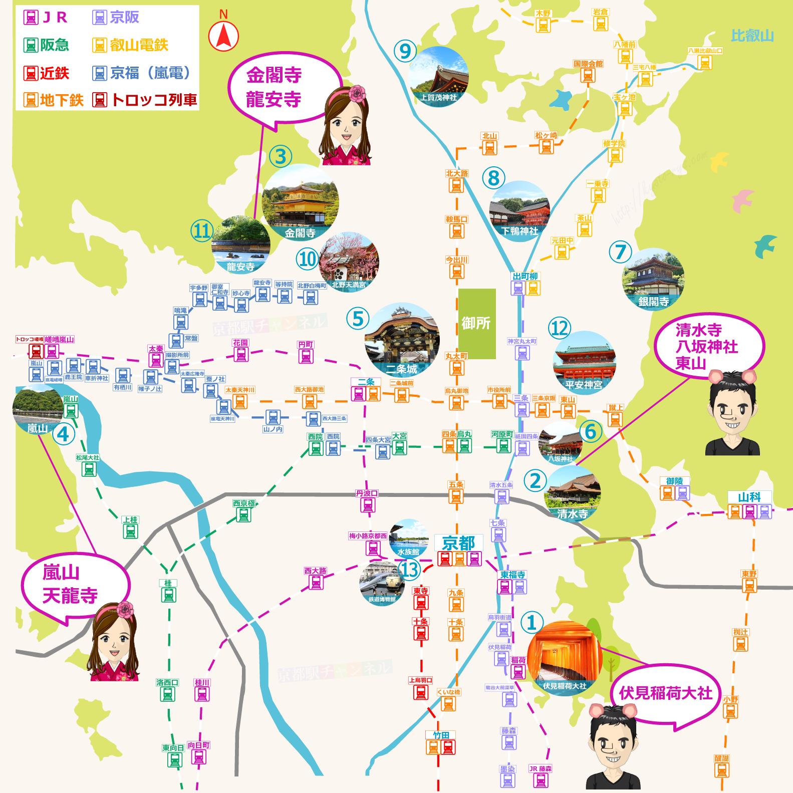京都市内の主な観光スポットと路線図